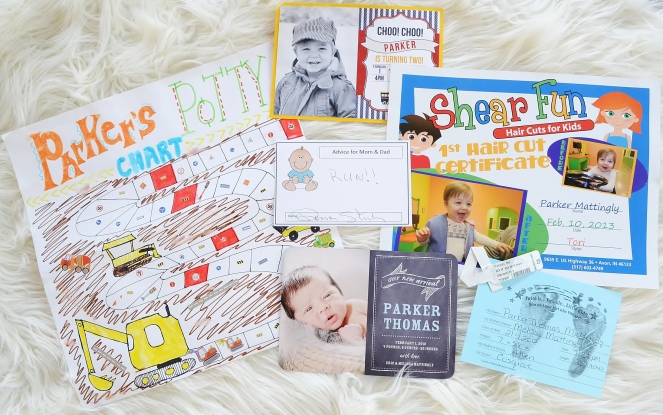Little boy keepsakes including potty chart, first haircut, invitations, birth announcements and footprints